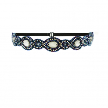Park Ave Headband Pewter/Blue